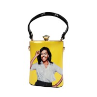 Vibrant Yellow Michelle Obama Rhinestone Top Handle Bag