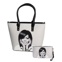 Gorgeous Black White Michelle Obama Tote Pouch 2 In 1 Bags
