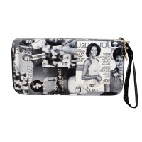 Black White Michelle Obama Collage wristlet wallet