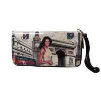 Worldly Beige Michelle Obama Wristlet Wallet
