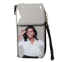 GORGEOUS BLACK WHITE MICHELLE OBAMA SMARTPHONE WALLET WRISTLET CASE BAG