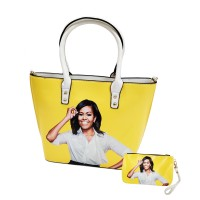 Vibrant Yellow Michelle Obama Tote Pouch 2 In 1 Bags