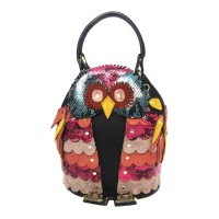 Multi Color Round Eye Owl Bucket Crossbody Top Handle Bag