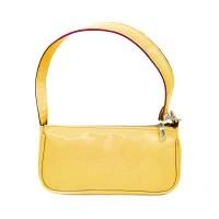 Glossy Yellow Patent Baguette Shoulder Bag