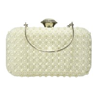 Gorgeous White Pearly Bead Minaudiere Case Clutch Purse