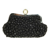 LUSTROUS PEARLY BEAD EVENING CLUTCH PURSE