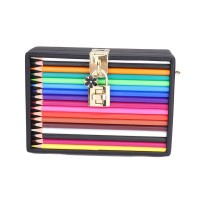 Inspired Multi Colored Pencils Case Novelty Bag