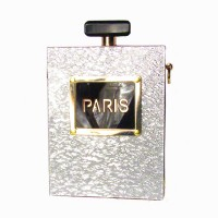 Silver Paris Perfume Bottle Clutch Purse Case Handbag