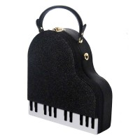 Whimsical Black Glitter Piano Novelty Cross Body Case Bag