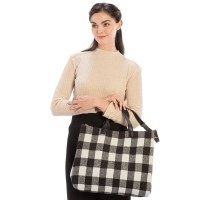 White & Black Buffalo Plaid Shoulder Tote Bag