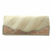 Champagne Wavy Crystal Satin Pleated Evening Clutch