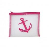 Pink Trim  Anchor Motif Plastic Mesh Pouch