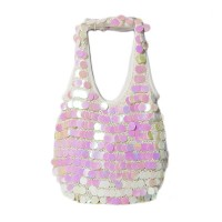 Vintage White Sequins Paillettes Disk Hobo Bag