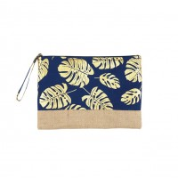 Navy Blue Gold Leaves Foil Clutch Bag