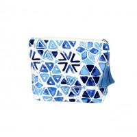 Blue Abstract Tassel Clutch Bag