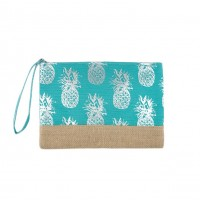 Turquoise Blue Silver Pineapple Foil Clutch Bag