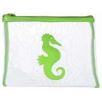 Green Seahorse Motif Plastic Mesh Pouch