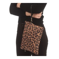 LEOPARD PRINT QUILTED PUFFER CLUTCH CROSSBODY BAG