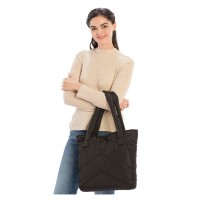 OVERSIZE CHIC BLACK QUILTED PUFFER TOTE BAG