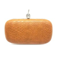 Python Faux Leather Skull Minaudiere Case Purse Clutch