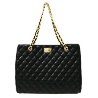 Iconic Black Quilted Chain Tote Bag