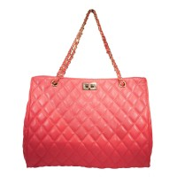 Iconic Coral Pink Quilted Chain Tote Bag