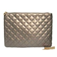 BRONZE ICONIC QUILTED ENVELOPE CLUTCH