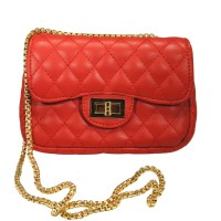 Iconic Red Quilted Chain Cross Body Bag