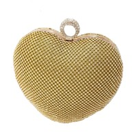 ROMANTIC GOLD HEART RHINESTONE EVENING CASE CLUTCH BAG
