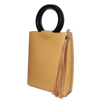 HIGH STYLE TAN TASSEL WOOD RING HANDLE BAG
