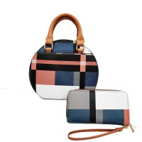 Multi Color Blue Plaid Round Top Handle 2-In-1 Bags