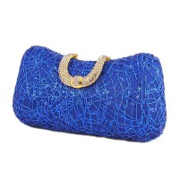 Satin Beaded Minaudiere Case Evening Clutch Purse