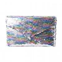 Dazzling Multi Silver Sequins Envelope Clutch Bag
