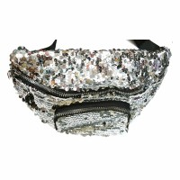 Glittering Silver Sequin Belt Bag