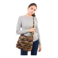 FASHIONABLE CAMOUFLAGE PRINT CORDUROY SHOULDER BAG