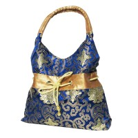 Stylish Handmade Blue Silk Brocade Hobo Satchel Handbag