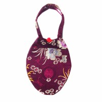 Gorgeous Handmade Burgundy Teardrop silk brocade purse handbag