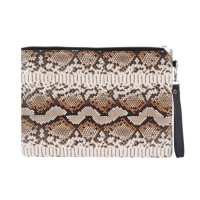 Stylish Brown Snake Skin Print Wristlet Pouch