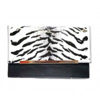 Glossy Snow Tiger Black Faux Leather Clutch