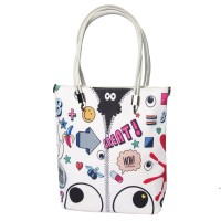 White Colorful Playful Stickers Jumbo Tote Bag
