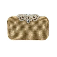 Sparkling Gold Rhinestone Evening Clutch Case Bag