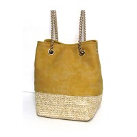 Gorgeous Raffia and Leather Chain Bucket Cross Body Bag