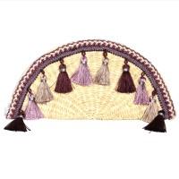 Handmade Purple Tassel Straw Half-Moon-Bag