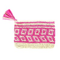 Pink Tassel Pouch Straw Clutch Bag