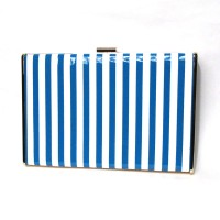Blue White Glossy Stripe Denim Clutch Bag