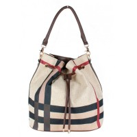 Iconic Tartan Stripes Drawstring Bucket Shoulder Bag