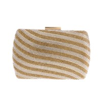 Gold Rhinestone Stripes Evening Case Bag