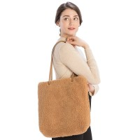 Soft Furry Camel Teddy Bear Tote Bag
