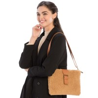 On Trend Camel Sherpa Fleece Teddy Crossbody Bag