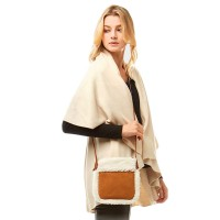 STYLISH CAMEL TEDDY SHERPA FLEECE SUEDE CROSSBODY BAG